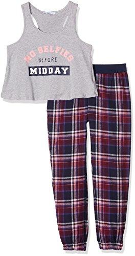 New-Look-915-Girls-Check-Slogan-Vest-Pyjama-Tops