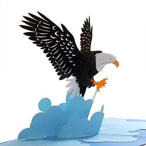 CUTEPOPUP 3D Bald Eagle Popup Grußkarte, Patriotische Karte, National Day, Columbus Day, Geburtstage, Jubiläen, Unabhängiger Tag, ideales Geschenk für Familie, Freunde, College, Outdoor-Liebhaber