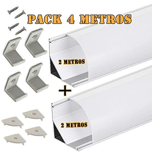 Perfil aluminio LED tira difusor opaco PACK 4 metros