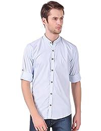 Lafantar Men's Slim Fit Mandarin Collar Striped Casual Shirt (vxt52)
