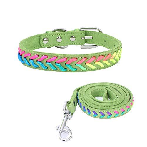 Verstellbarer Lederhalsband Basic Bling Halsbänder mit Leine für Katzen und Hunde, 10 Farben, 4 Größe ()