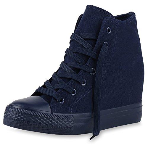 SCARPE VITA Damen Sneakers Keilabsatz Sneaker-Wedges Trendfarben Stoffschuhe 165501 Dunkelblau 40