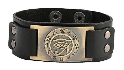 lemegeton trendige Religiöse Ägyptische Auge des Ra Horus Udjat Evil Eye Snap schwarz Leder Armband