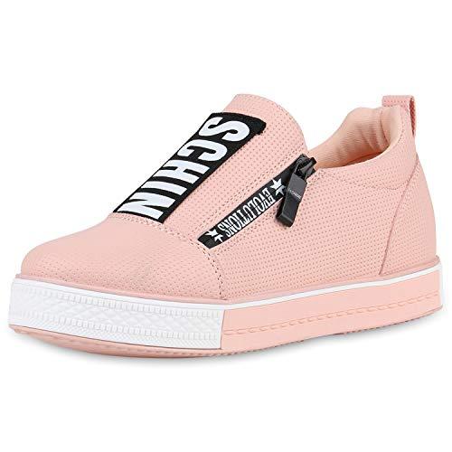 SCARPE VITA Damen Plateau Sneaker Keilabsatz Schuhe Prints Freizeitschuhe Zipper Turnschuhe Wedges 181417 Rosa 37