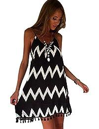 Vestidos de Gasa Verano Estampados Rayas Cortos Vestidos Playeros Vestido Playa Sueltos Vestidos Corto Diarios Escotado por Detrás Mini…