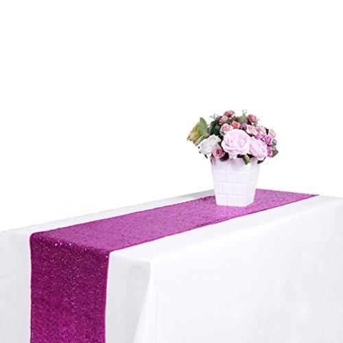 Tischdecken HKFV Neue Pailletten Satin Tischläufer 30x300 cm Glitter Hochzeit Party Veranstaltungsdekor Hotel Hochzeit Bankett Tischtuch mit hoher Dichte Tabletten (Hot Pink, 30x275cm) (Glitter Leinen Tischdecke)