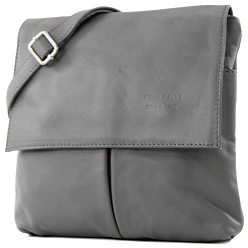 modamoda de - ital. Ledertasche Schultertasche Crossover Umhängetasche Nappaleder T63, Präzise Farbe:Quarzgrau (Grau Leder Handtaschen)