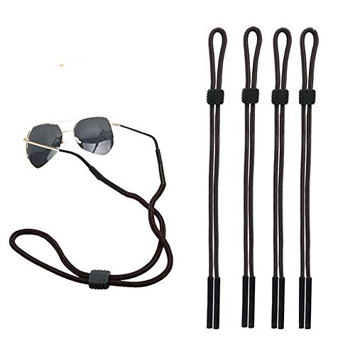 4PCS Sport Sonnenbrille Halter Eyewear Brillen Retainer mit Gummi Grip Sicher Riemen Kordel verstellbar Seil Lanyard Unisex für Sport und Outdoor Aktivitäten (schwarz)