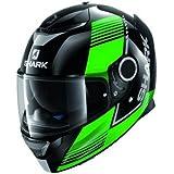 HE5045EKGSM - Shark Spartan Arguan Motorcycle Helmet M Black Green Silver (KGS)