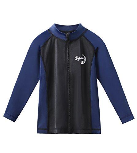 LAPASA Kinder UV Sonnenschutz Langarm Rash Guard Neoprenanzug Badeanzug Top K002 (schwarz+blau, 4 Jahre) - Kinder Lange Ärmeln