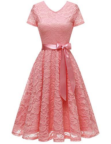 bridesmay Damen 50S Retro Spitzenkleid Kurzarm Elegant Brautjungfernkleid Abendkleider Blush S