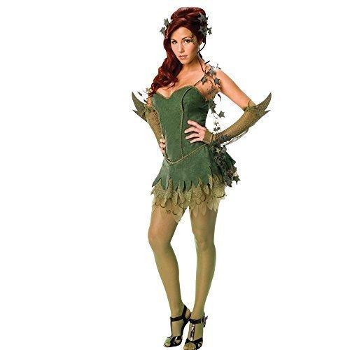 �ck Sexy Deluxe Poisen Ivy Batman Bösewicht Deluxe offiziell lizenziert Halloween Kostüm Kleid Outfit UK 6-14 - Grün, Grün, 8-10 (Sexy Batman Outfits)