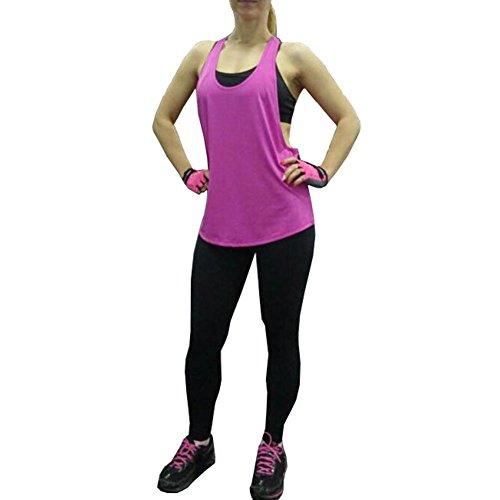 Meijunter Femme Sports Fitness T-shirt col bas Gilet sans manches en vrac Loisirs Hauts Blanc