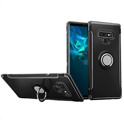 XIFAN Samsung Galaxy Note 9 Hülle, Stilvoller Ring Standplatz Handyhülle, Rugged TPU/PC Hybrid Armor Fall und Autohalterung Schutzhülle und 360° Drehständer 3 in 1. Schwarz