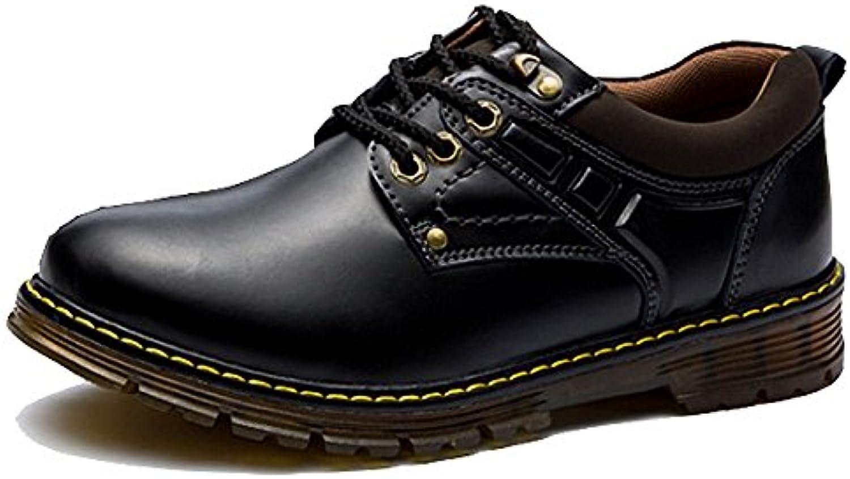 LYZGF Hombres Estaciones Ocio Al Aire Libre Moda Escalada Encaje Zapatos De Cuero