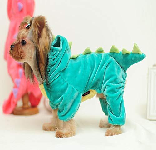 ZCNNO Pet-Kostüm Hund Halloween-Strickjacke, Haustier Skelett Overall for Small Medium Hunde, Welpen und Katzen-Warm-Kleid Ferien Halloween verkleiden Kostüme, passend for irgendeine Occassions (Dinosaur Pet Kostüm)