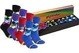 gigando | karo Baumwoll-Socken | bunte Strümpfe für Damen und Herren mit farbenfrohen, zeitlosen Karomustern | Hand gekettelt | extra feines Maschenbild | 8 Paar | je 2x rot, schwarz, lila, blau |