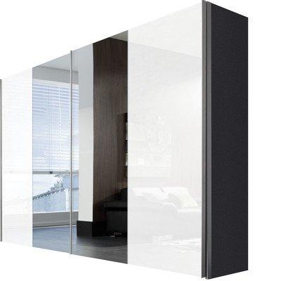 Express Möbel Schwebetürenschrank Weiß Lack mit Spiegel 2-türig, Korpus Graphit Nachbildung, BxHxT 300x236x68 cm, Art Nr. 04390-967
