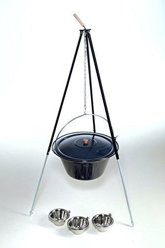 acerto original ungarischer Gulaschkessel 30 Liter inkl. Deckel mit Dreibein 1,80m und 3 Essschüsseln - Komplettset
