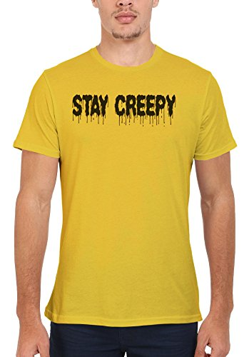 Stay Creepy Men Women Damen Herren Unisex Top T Shirt Licht Gelb