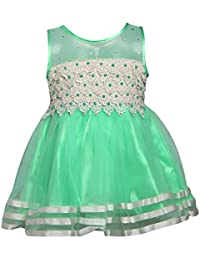 Chipchop Kids Girls Partywear Green and White Lace and Net Dress - 1 Year, 2 years, 3 Years, 4 Years, 5 Years, 6 Years