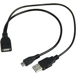 GalaxyWorld® Cable+adaptador OTG Micro USB (B) macho a USB hembra (A) con puerto de alimentación