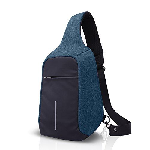 FANDARE 2017 Outdoor Sports Rucksack Sling Bag Umhängetasche Messenger Schultertasche Reisen Wandern Daypack Crossbag Kamerarucksack Chest Pack Reflektierender Streifen Polyester Grau Blau