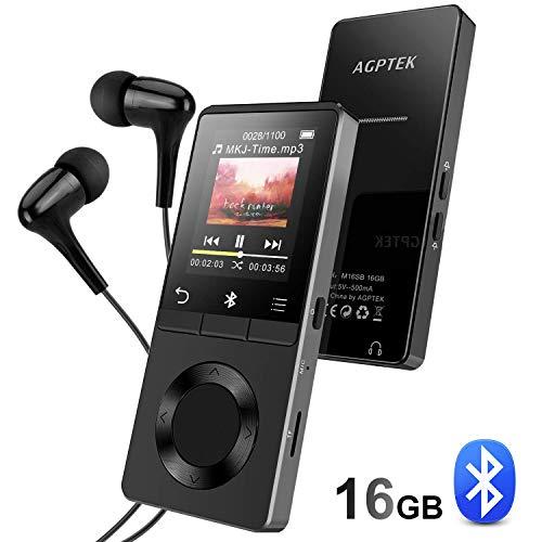 AGPTEK 16Go Haut-Parleur MP3 Bluetooth 4.0 avec Boutons Tactiles, Lecteur Musical en Métal pour Le Sport, Bouton de Volume/Verrouillage Indépendant, Supporte Carte SD 128Go(Non Incluse)-M16SB Noir