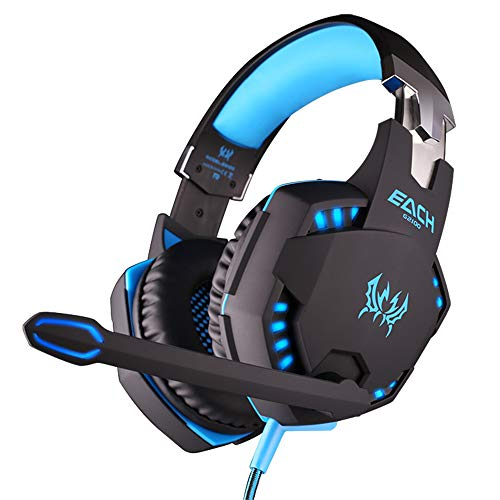Stereo-Gaming-Headset für PS4, PC, Xbox One Controller, Geräuschunterdrückung Over-Ear-Kopfhörer mit Mikrofon, LED-Licht, Bass-Surround, weiche Memory-Ohrenschützer für PC Blau blau (Headset Pc Minecraft Für)