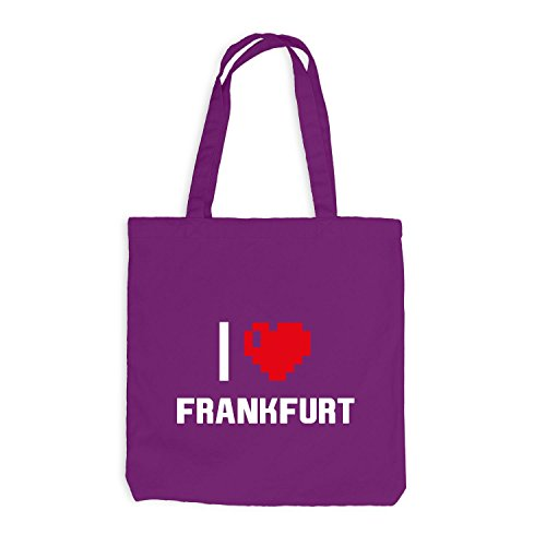 Jutebeutel - I Love Frankfurt - Deutschland Reisen Herz Heart Pixel Magenta