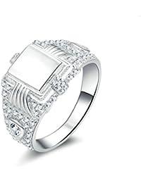 Beydodo Herren Ring Silber 925 Eckig Siegelring Rund Brillant Weiß Zirkonia  Partnerring Silber Ring Verlobung 8c9dc9f93e