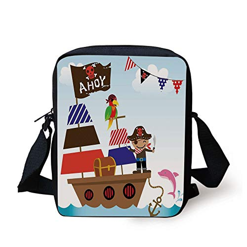 y,Cute Pirate Kids Treasure Chest with Ship on Ocean Background Illustration,Multicolor Print Kids Crossbody Messenger Bag Purse ()