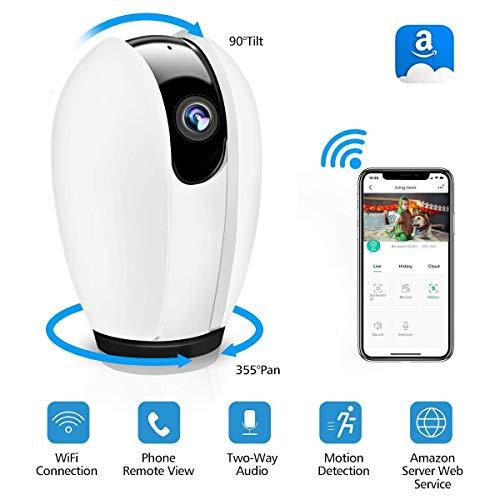 WLAN IP Kamera, DIGOO WiFi Überwachungskamera mit Nachtsicht Bewegungserkennung, 2 Wege Audio, 355°/90°Schwenkbar, Baby Monitor, Sicherheitskamera unterstützt Mobile App Kontrolle - Sicherheit Zu Hause Mit App