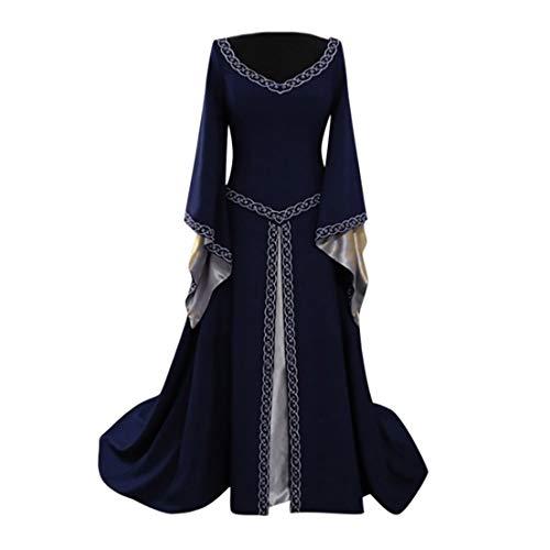 Kostüm Ritter Gewand Muster - Huacat Damen mittelalterlichen Vintage Mosaik Muster Stil einfarbig Flare Ärmel Prinzessin Kleid Renaissance Halloween Kostüm