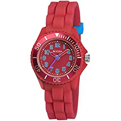 Tikkers Unisex Quartz Watch with Red Dial Analogue Display and Red Silicone Strap TK0066