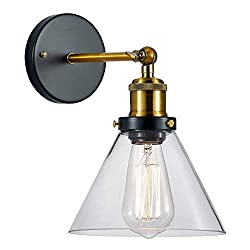 Frideko Vintage Wall Light, Retro Industrial Funnel Glass Wall Sconce for Loft Corridor Home Office Bedroom Coffee Shop (Type A, Brass)