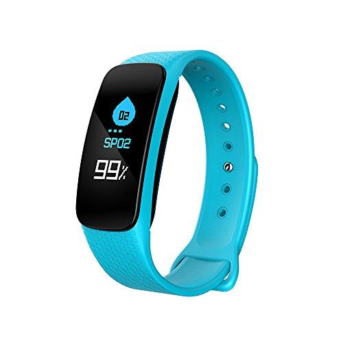 W&TT Farbbildschirm Smart Armband, Herzfrequenz Blutdruck Sport Armband Anruf Erinnerung Nachricht Push Wasserdichtes Armband,Cyan