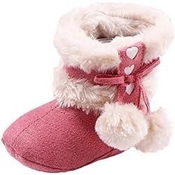 LvRao Scarpe di Neonati 1-12 Mesi Stivali Invernali Autunno Infantile con Pompon Rosa Esterna 14cm, Interno 13.5cm