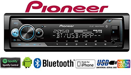 Autoradio-Radio-Pioneer-DEH-S510BT-Bluetooth-Spotify-CD-MP3-USB-Android-iPhone-Multicolor-4x50Watt-Einbauzubehr-Einbauset-fr-BMW-5er-E34-JUST-SOUND-best-choice-for-caraudio