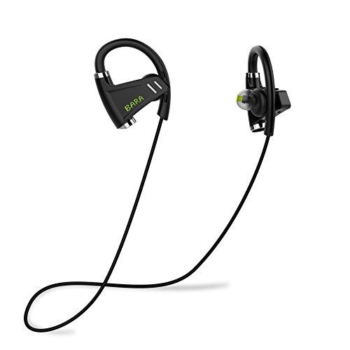 Bluetooth Kopfhörer, BARA E3 In Ear Drahtlose Sport Headset, CSR Stereo APT-X CVC6.0 Geräuschunterdrückung Kopfhörer, IPX6 Wasserschutz Ohrhörer mit HD Mikrofon, 8 Stunden Spielzeit - Schwarze Mikrofon Kopfhörer Mit