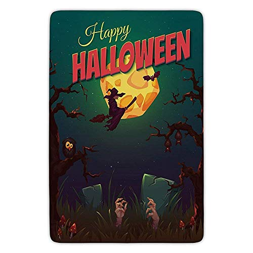 Bathroom Bath Rug Kitchen Floor Mat Carpet,Halloween,Happy Halloween Poster Design Witch on Broom Mushroom Dead Resurgence Vintage Decorative,Multicolor,Flannel Microfiber Non-slip Soft Absorbent (Dead Mario Halloween)