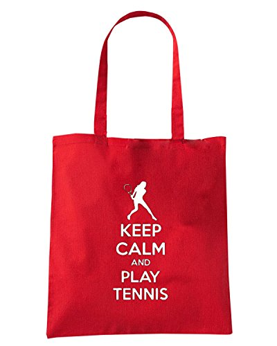 T-Shirtshock - Borsa Shopping OLDENG00763 keep calm and play tennis (3) Rosso