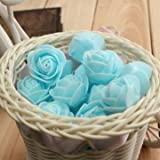 50pcs 2.5cm Artificial Roses PE Foam Simulation Rose Flower Wedding Party Home Decoration (Light Blue)