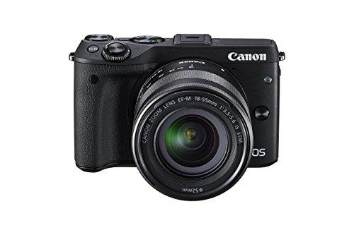 Canon EOS M3 - Systemkamera Kit inkl. EF-M 18-55 mm IS STM Objektiv und Premium-Zubehör-Kit (Kamera-Jacket, Leder-Trageriemen und 16 GB SD-Karte) schwarz