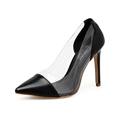 WYWQ 2018 Spring & Summer Explosions Donna Scarpe da punta con tacco alto a punta con tacco e scarpe da donna bianche nere 40 Yards black