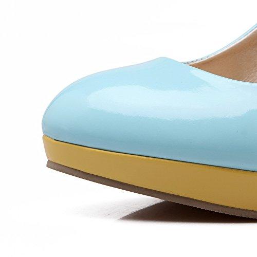 AllhqFashion Femme Tire Rond à Talon Haut Pu Cuir Mosaïque Chaussures Légeres Bleu