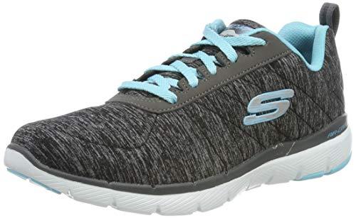 Skechers Damen Flex Appeal 3.0-insiders Sneaker , Schwarz (Black/LightBlue) , 38.5 EU - Skechers Flex Schuhe Damen