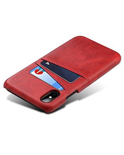 ProFlip - Echt Ledertasche Flip Case für Apple iPhone X - Hochqualitative und stylische Hülle - 100% Geld-Zurück-Garantie rot