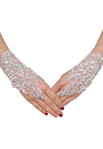 HO-Ersoka Damen Handschuh Stulpe fingerlos mit Schlaufe Pailetten Strass und Satinband weiß -