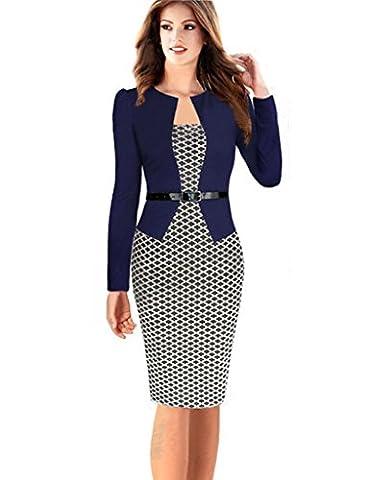 Minetom Damen Hahnentritt Elegant Kleider Business Kleider Abendkleid Etuikleid Casual Knielang Party Dress mit Gürtel Marine DE